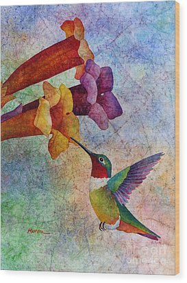 Wood Print featuring the painting Hummer Time by Hailey E Herrera