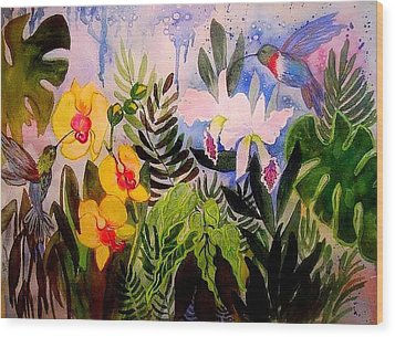 Hummers And Orchids Wood Print