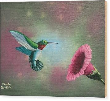 Humming Bird Feeding Wood Print by Brenda Bonfield