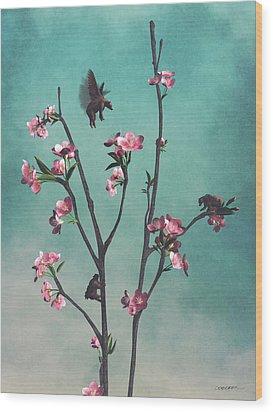 Hummingbears Wood Print by Cynthia Decker