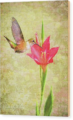Wood Print featuring the digital art Hummingbird And Flower by Christina Lihani