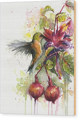 Hummingbird And Fuchsia Wood Print by Olga Shvartsur