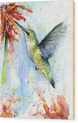 Hummingbird And Red Flower Watercolor Wood Print by Olga Shvartsur