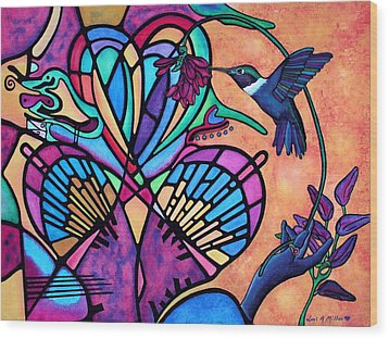Wood Print featuring the painting Hummingbird And Stained Glass Hearts by Lori Miller