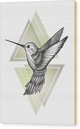 Hummingbird Wood Print by Barlena