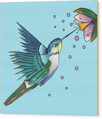 Hummingbird Blue Wood Print