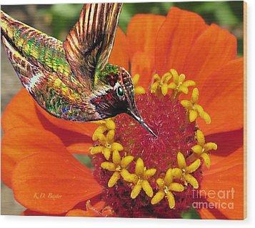 Hummingbird Delight Wood Print by Kimberlee Baxter