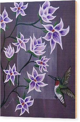 Hummingbird Delight Wood Print