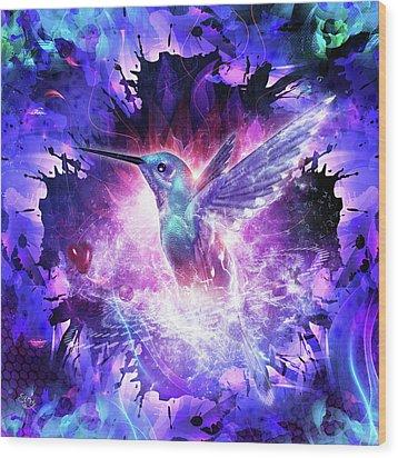 Hummingbird Love Wood Print by Cameron Gray