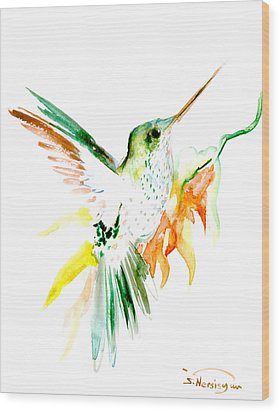 Hummingbird Green Orange Red Wood Print