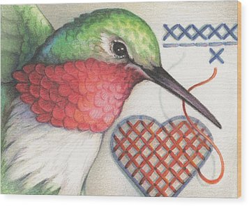 Hummingbird Handiwork Wood Print by Amy S Turner