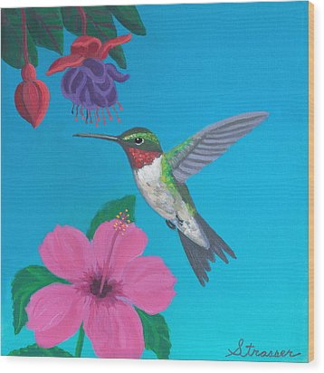 Hummingbird Heaven Wood Print by Frank Strasser