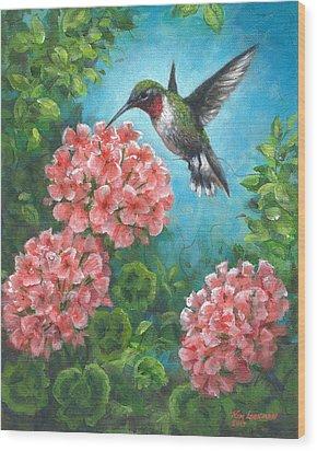 Wood Print featuring the painting Hummingbird Heaven by Kim Lockman