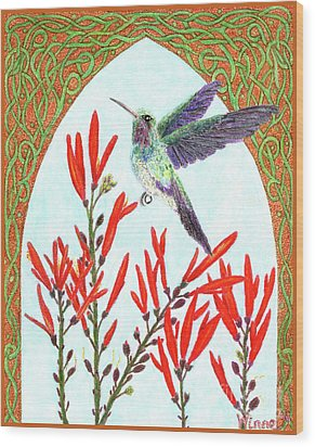 Hummingbird In Opening Wood Print