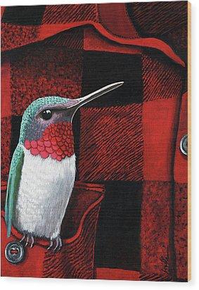 Wood Print featuring the painting Hummingbird Memories by Linda Apple