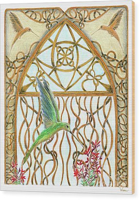 Hummingbird Sanctuary Wood Print