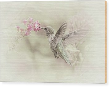 Wood Print featuring the photograph Hummingbird Softly by Angie Vogel