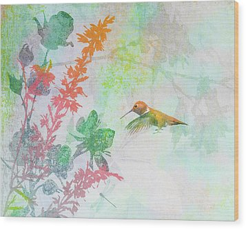 Wood Print featuring the digital art Hummingbird Summer by Christina Lihani