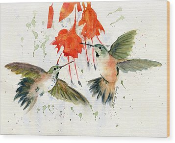 Hummingbird Watercolor Wood Print