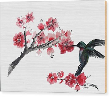 Hummingbird With Plum Blossom Wood Print by Sibby S