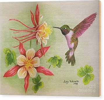 Wood Print featuring the painting Hummingbird's Delight by Judy Filarecki
