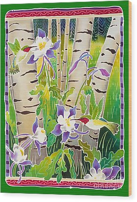 Hummingbirds In The Aspen Wood Print by Harriet Peck Taylor