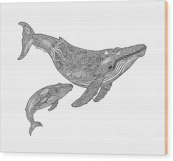 Humpback And Calf Wood Print by Carol Lynne