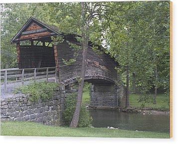 Humpback Covered Bridge In Covington Virginia Wood Print by Brendan Reals