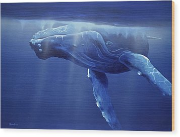 Humpback Portrait Wood Print