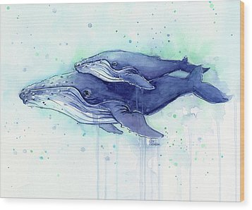 Humpback Whale Mom And Baby Watercolor Wood Print by Olga Shvartsur