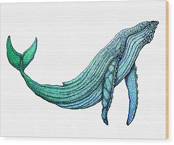 Humpback Whale Wood Print by Nick Gustafson