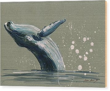 Humpback Whale Swimming Wood Print by Juan  Bosco