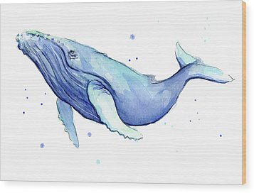 Humpback Whale Watercolor Wood Print