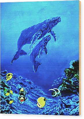 Humpback Whales Hawaii An Reef #14 Wood Print by Donald k Hall