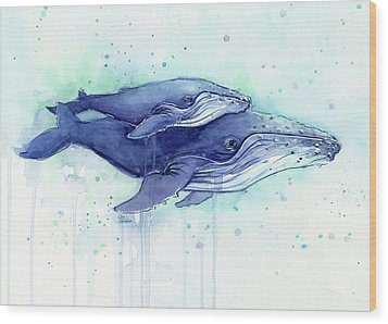 Humpback Whales Mom And Baby Watercolor Painting - Facing Right Wood Print by Olga Shvartsur