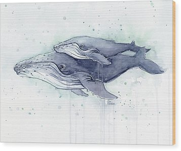 Humpback Whales Painting Watercolor - Grayish Version Wood Print by Olga Shvartsur
