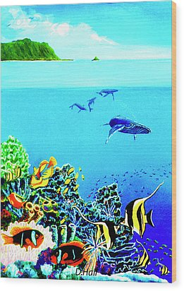 Humpback Whales, Reef Fish #252 Wood Print by Donald k Hall