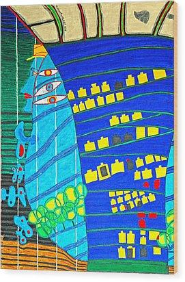 Hundertwasser Blue Moon Atlantis Escape To Outer Space Wood Print