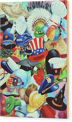 Hundreds Of Hats Wood Print by Hanne Lore Koehler
