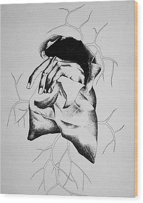 Hunger Wood Print by Omphemetse Olesitse