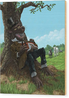 Hungry Bad Wolf In Field With Little Sheep Wood Print by Martin Davey