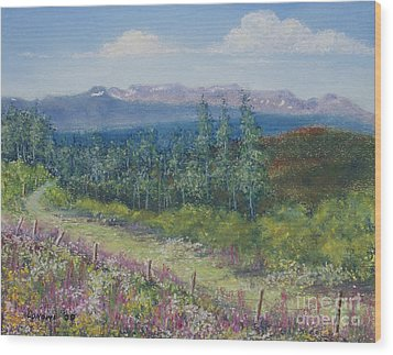 Wood Print featuring the painting Summer Flowers On Hungry Hill by Stanza Widen