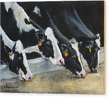 Hungry Holsteins Wood Print