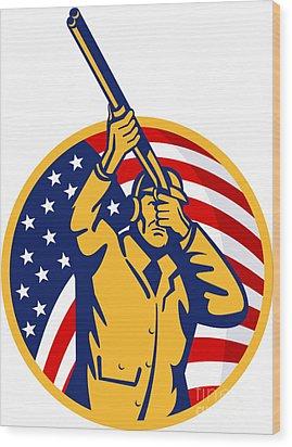 Hunter American Flag Wood Print by Aloysius Patrimonio