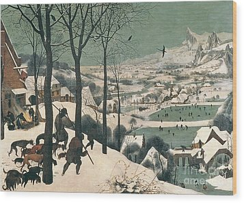 Hunters In The Snow Wood Print by Pieter the Elder Bruegel