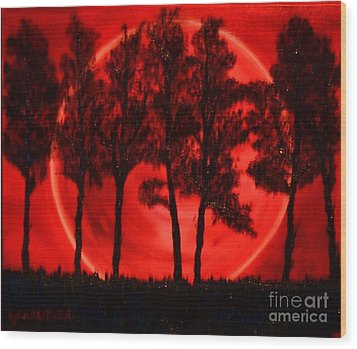 Wood Print featuring the painting Hunters Moon by Lori Jacobus-Crawford