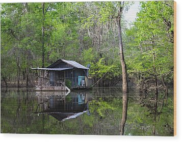 Hunting And Fishing Cabin Wood Print