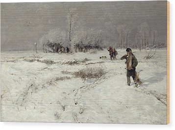 Hunting In The Snow Wood Print by Hugo Muhlig