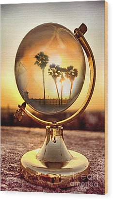 Huntington Beach Globe Wood Print