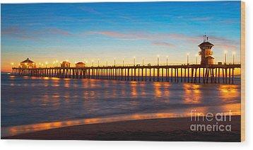 Huntington Beach Pier - Twilight Wood Print